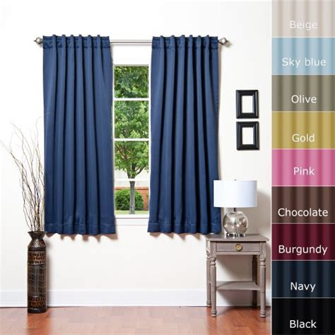 solid thermal insulated blackout curtain 52w x 63l 1 set