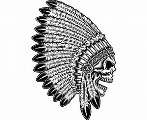 Indian Skull 5 Native American Warrior Headdress Feather