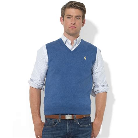 mens sweater vest polo ralph v neck merino wool sweater vest in blue