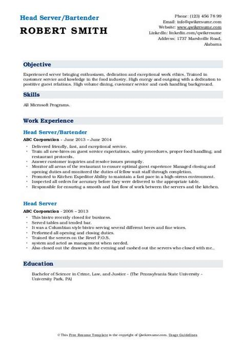 head server resume samples qwikresume