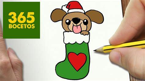 como dibujar un perrito para navidad paso a paso dibujos kawaii navide 241 os how to draw a