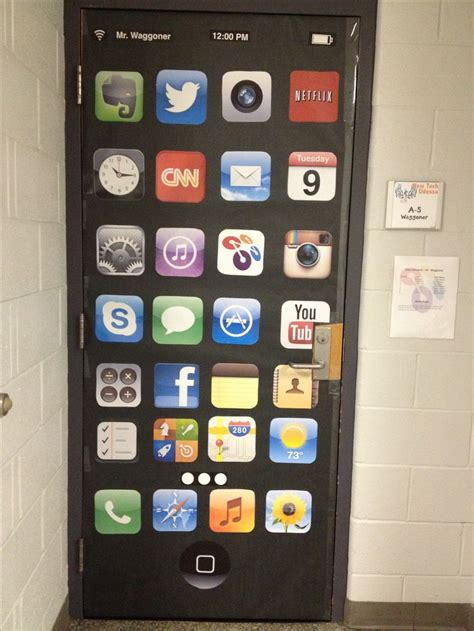 door decor  technology classroom   apple
