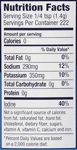table salt nutrition facts Brokeasshome com