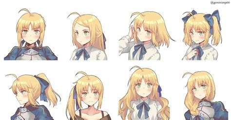 fanartfate saber   ponytail anime