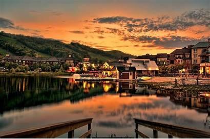 Village Night Sunset Mountain Lake Lights Desktop