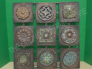 Square metal wall hanging home accent decor art floral for Vintage wall decor