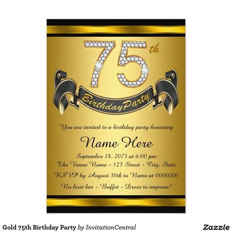 gold  birthday party invitation zazzlecom