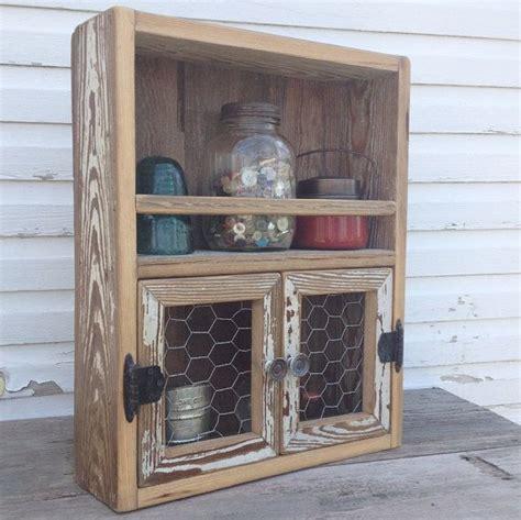 Wire Spice Shelf by Reclaimed Wood Cabinet Chicken Wire Decor Kitchen Shelf