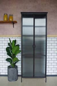 Industrial Fluted Glass Display Cabinet