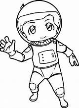 Astronaut Coloring Chibi Kid Drawing Wecoloringpage Boys Drawings Astronauta Outfit Fan sketch template