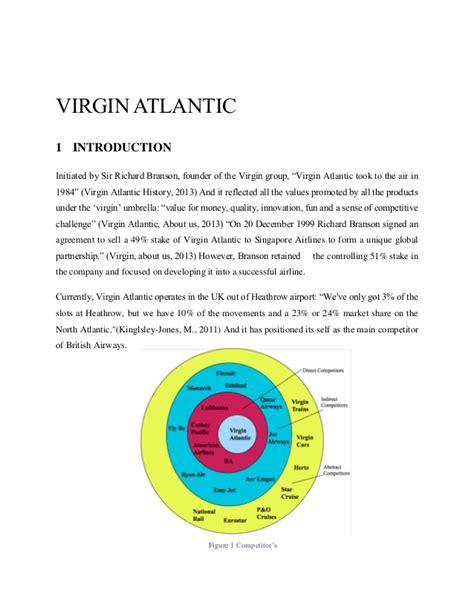Case study analysis of Virgin atlantic
