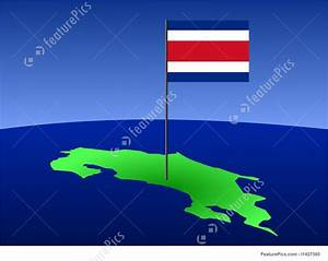 Map Of Costa Rica With Flag Illustration