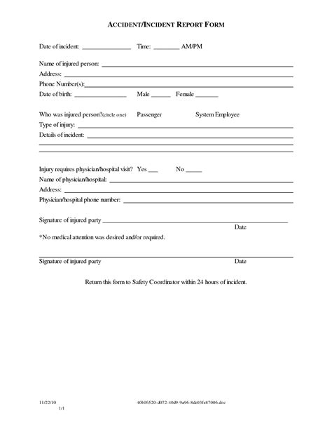 auto accident release of liability form pdf best photos of patient incident report form template car