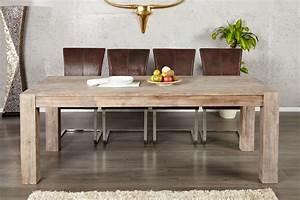 Table de salle a manger en bois massif et moderne for Meuble de salle a manger avec table salle a manger bois moderne