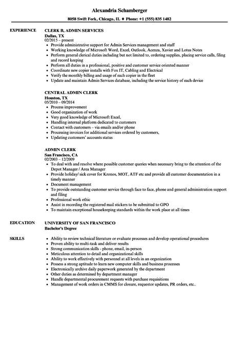 administrative clerk resume talktomartyb