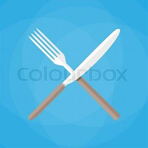 Crossed Knife and fork. vector illustration in flat style ...