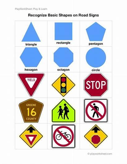 Shapes Signs Road Traffic Basic Worksheets Recognize