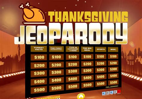 thanksgiving jeopardy trivia powerpoint game youth