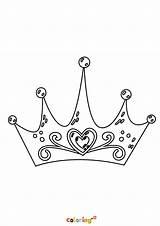 Coloring Princess Crown Printable Cartoon sketch template