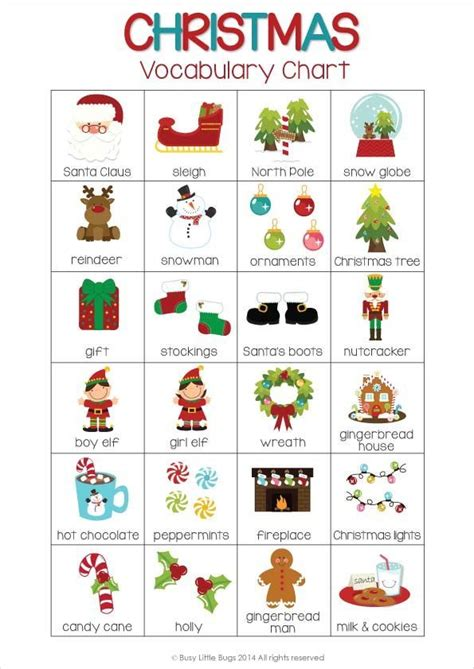 Christmas Vocabulary Cards  Super Cute Vocab Cards For Your Early Readers This Christmas