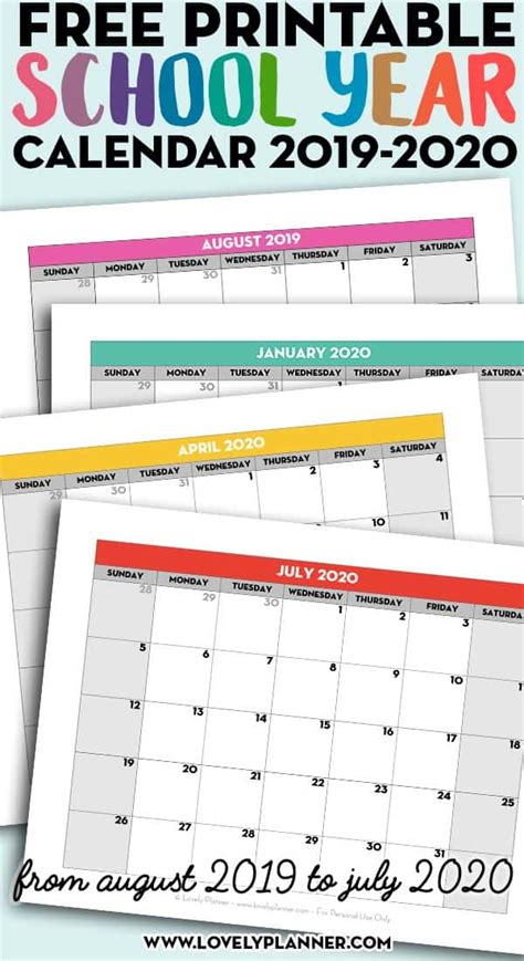 printable school year calendar monthly pages