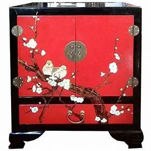 Meuble Chinois Rouge : meuble d 39 appoint chinois laqu rouge oiseaux 2 portes 1 ~ Teatrodelosmanantiales.com Idées de Décoration