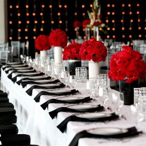 modern red black and white reception tables oracle