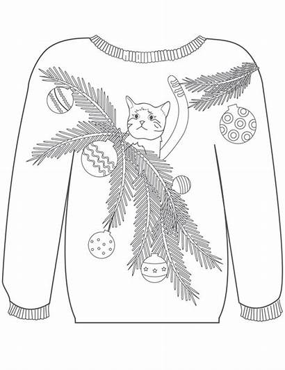 Ugly Coloring Christmas Pages Sweaters Sweater Cat