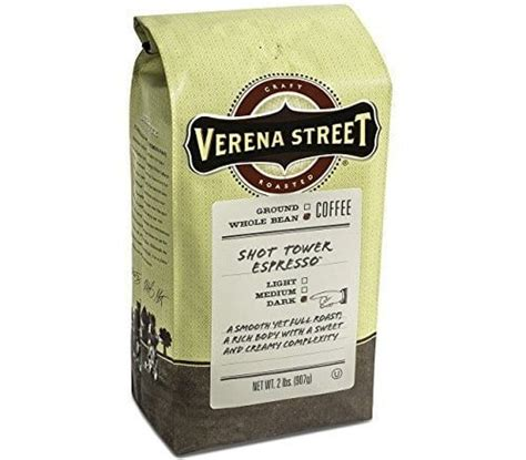 Though this is a dark roast coffee, we found it to taste more like a medium. Verena Street Shot Tower Espresso Whole Bean - Coffee Maker