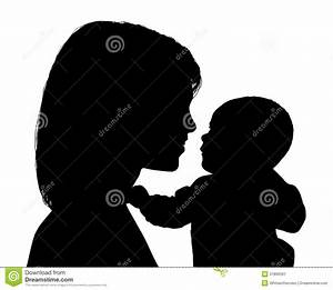 Mother Smiling To Her Newborn Child Silhouette Stock Image ...