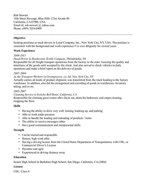 Duties Of A Truck Driver For Resume by Cdl Truck Driver Resume Template Resume Template
