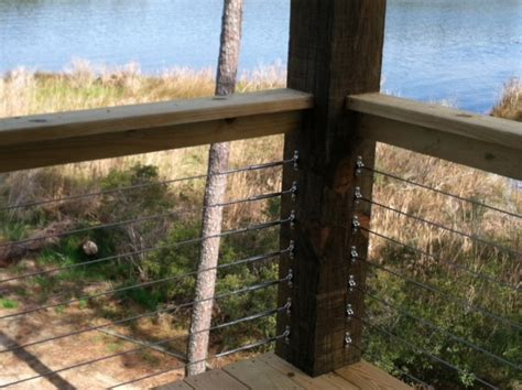 Wood Porch Railing Systems by Cable Rail On A Wood Railing System On The In