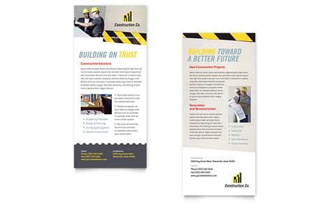 rack cards templates word industrial commercial construction rack card template