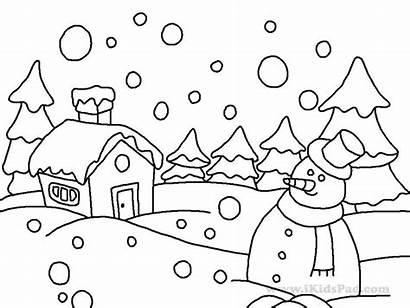 Coloring Winter Pages Season Printable Snowman Preschool