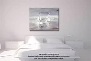 Tableau Deco Chambre : tableau gris voyage en mer grand format rectangle ~ Teatrodelosmanantiales.com Idées de Décoration