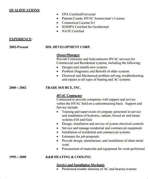 hvac resume templates  samples examples format