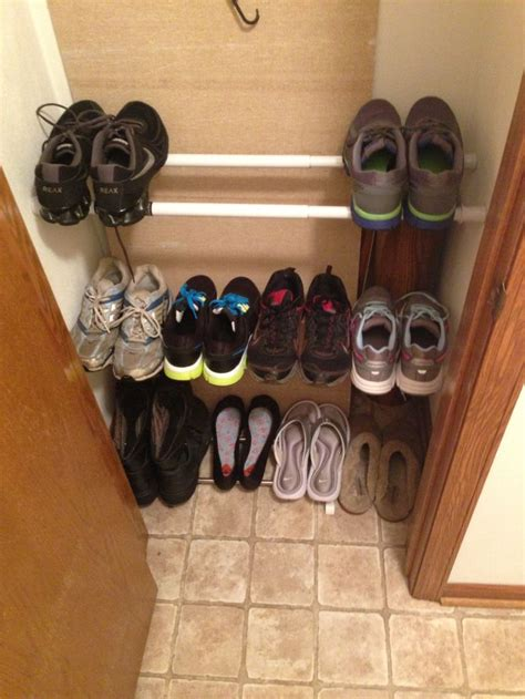 floor to ceiling tension rod closet tension rods as a shoe rack works amazing for the