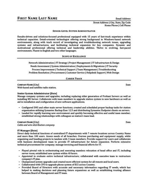 Resume 101 Pdf by Senior Level System Administrator Resume Template