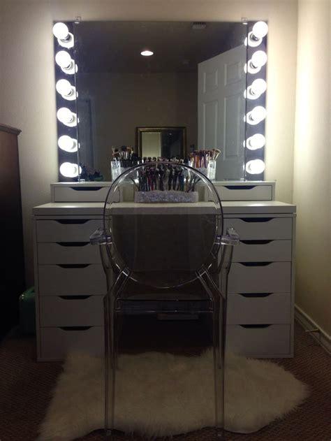 diy vanity mirror  lights  bathroom  makeup station