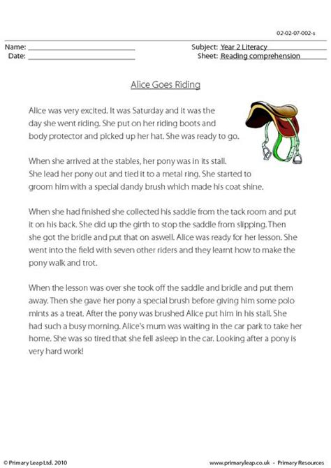 reading comprehension alice goes riding primaryleap co uk