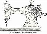 Machine Sewing Coloring Clipart Fotosearch sketch template