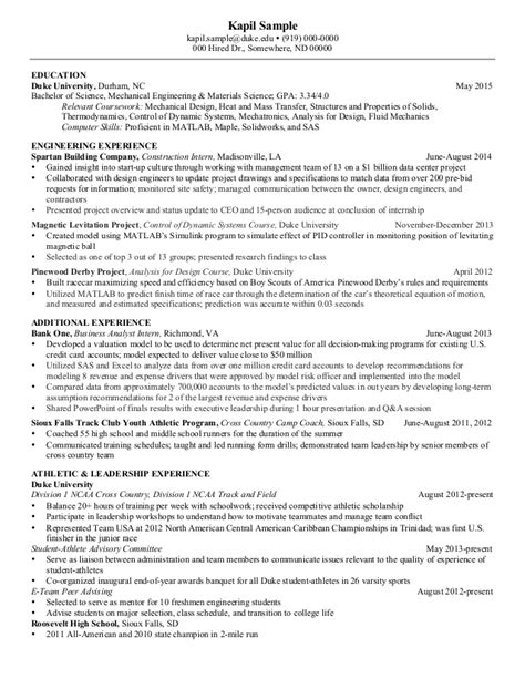 Undergraduate Engineering Resume by Resume Mechanical Engineering Senior