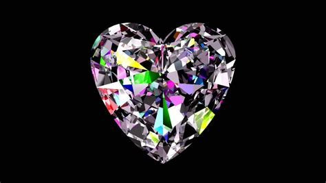 stock video  iridescent diamond heart looped alpha