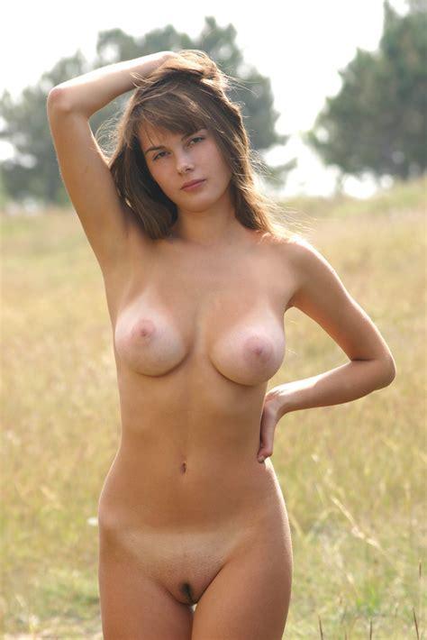 Big Breasted Brunette Model Masha J Strips Slowly Outdoors