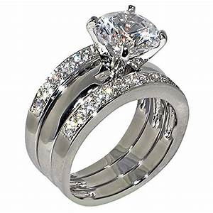 347 ct round shape cubic zirconia cz solitaire bridal With 3 piece wedding ring set