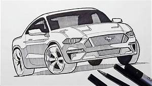 How to Draw a Car   Ford Mustang - YouTube