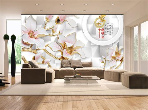 aliexpress com buy 3d wallpaper magnolia stereoscopic 3d