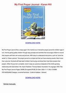 My First Prayer Journal Karen Hill By Rolandreddick