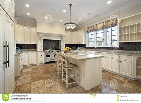 Kitchen With Light Wood Cabinetry Stock Photo  Image