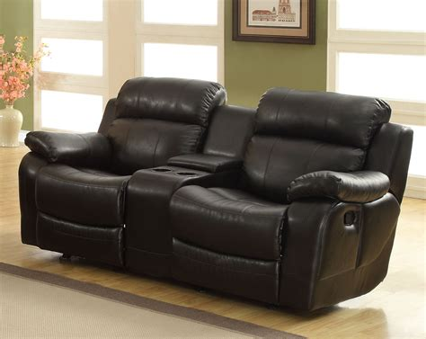 cheap black leather recliner sofas homelegance marille love seat glider recliner with center